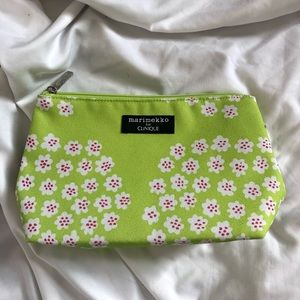 Used, Marimekko for Clinique green white pink makeup bag for sale